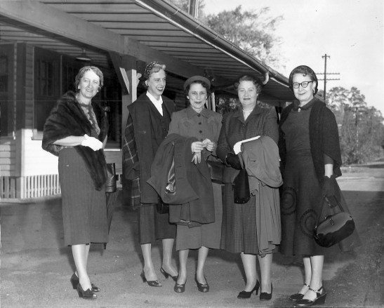 Irene Mangum, Lib Greason, Irene Holding, Isabella Gill and Nancy Harris at the train depot in Wake Forest