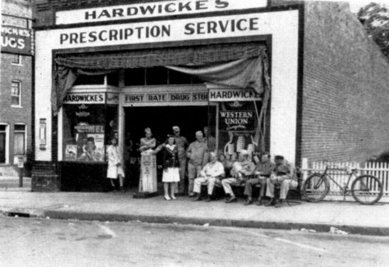 Soldiers and townsfolk outside Hardwicke's Pharmacy in Wake Forest.